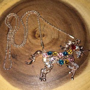 Unicorn rose gold filled necklace